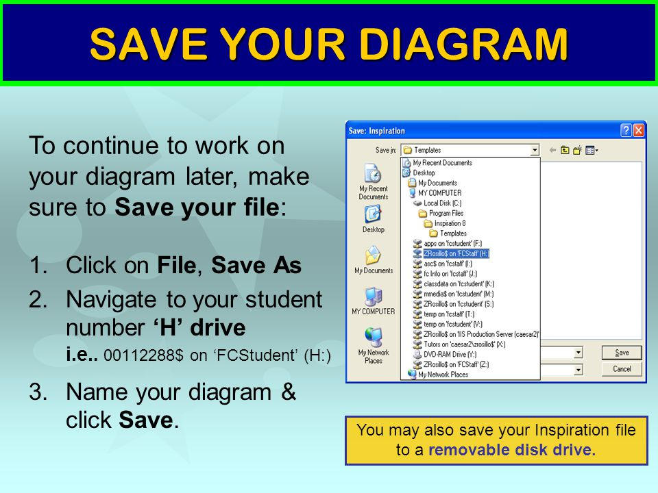 SAVE YOUR DIAGRAM 1.Click on File, Save As 2.Navigate to your student number 'H' drive i.e.. 00112288$ on 'FCStudent' (H:) 3.Name your diagram & click