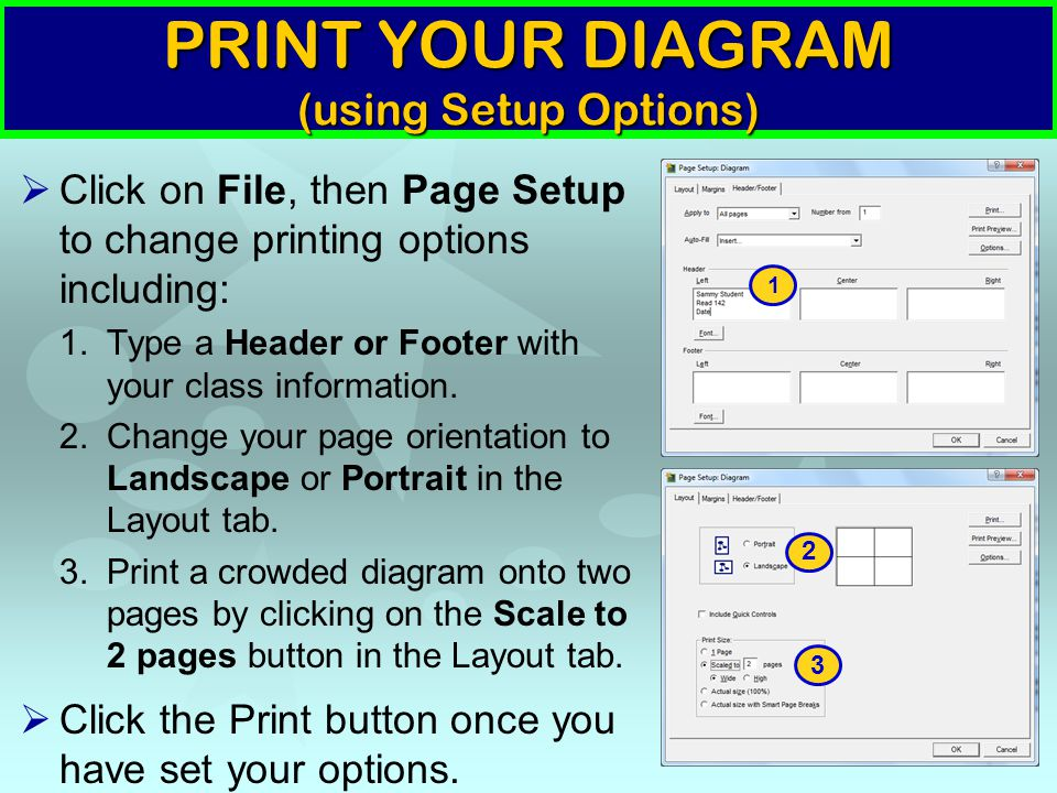 PRINT YOUR DIAGRAM (using Setup Options)  Click on File, then Page Setup to change printing options including: 1.Type a Header or Footer with your cl