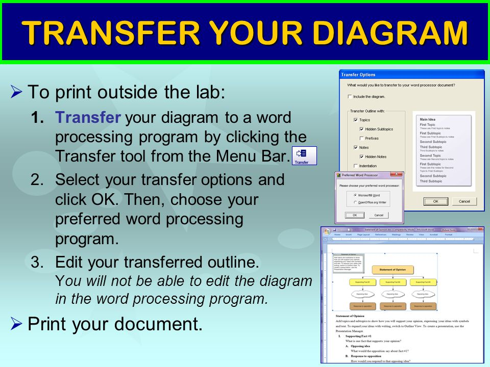 TRANSFER YOUR DIAGRAM  To print outside the lab: 1.Transfer your diagram to a word processing program by clicking the Transfer tool from the Menu Bar.