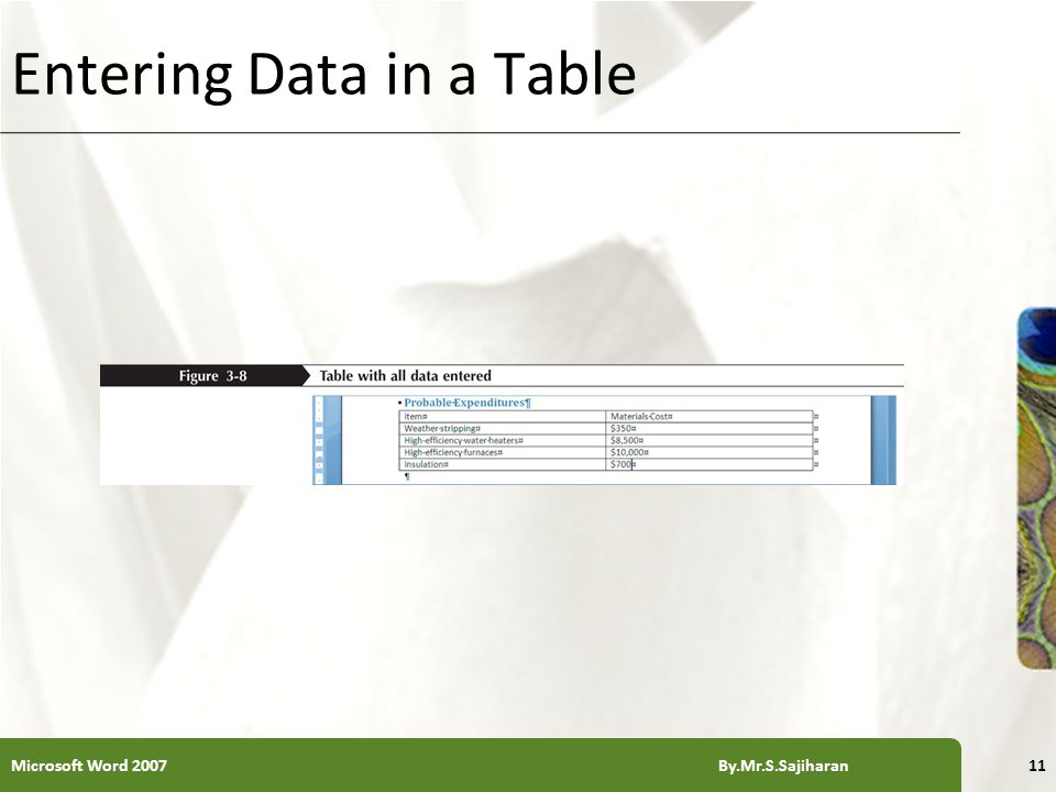 XP Entering Data in a Table Microsoft Word 2007 By.Mr.S.Sajiharan11