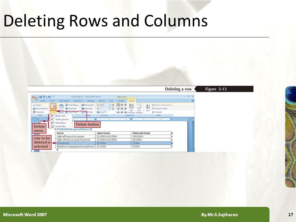 XP Deleting Rows and Columns Microsoft Word 2007 By.Mr.S.Sajiharan17