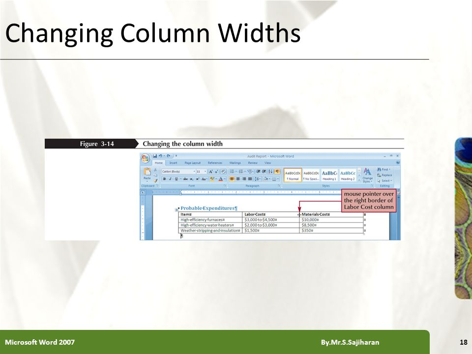XP Changing Column Widths Microsoft Word 2007 By.Mr.S.Sajiharan18