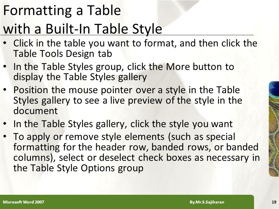 XP Formatting a Table with a Built-In Table Style Click in the table you want to format, and then click the Table Tools Design tab In the Table Styles group, click the More button to display the Table Styles gallery Position the mouse pointer over a style in the Table Styles gallery to see a live preview of the style in the document In the Table Styles gallery, click the style you want To apply or remove style elements (such as special formatting for the header row, banded rows, or banded columns), select or deselect check boxes as necessary in the Table Style Options group Microsoft Word 2007 By.Mr.S.Sajiharan19