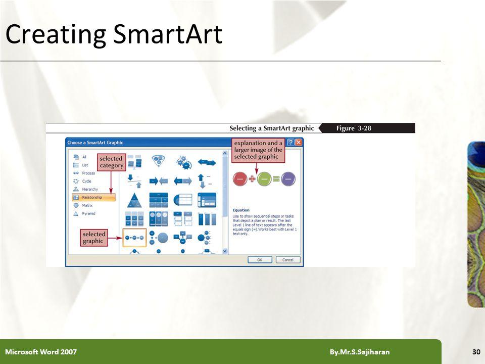 XP Creating SmartArt Microsoft Word 2007 By.Mr.S.Sajiharan30