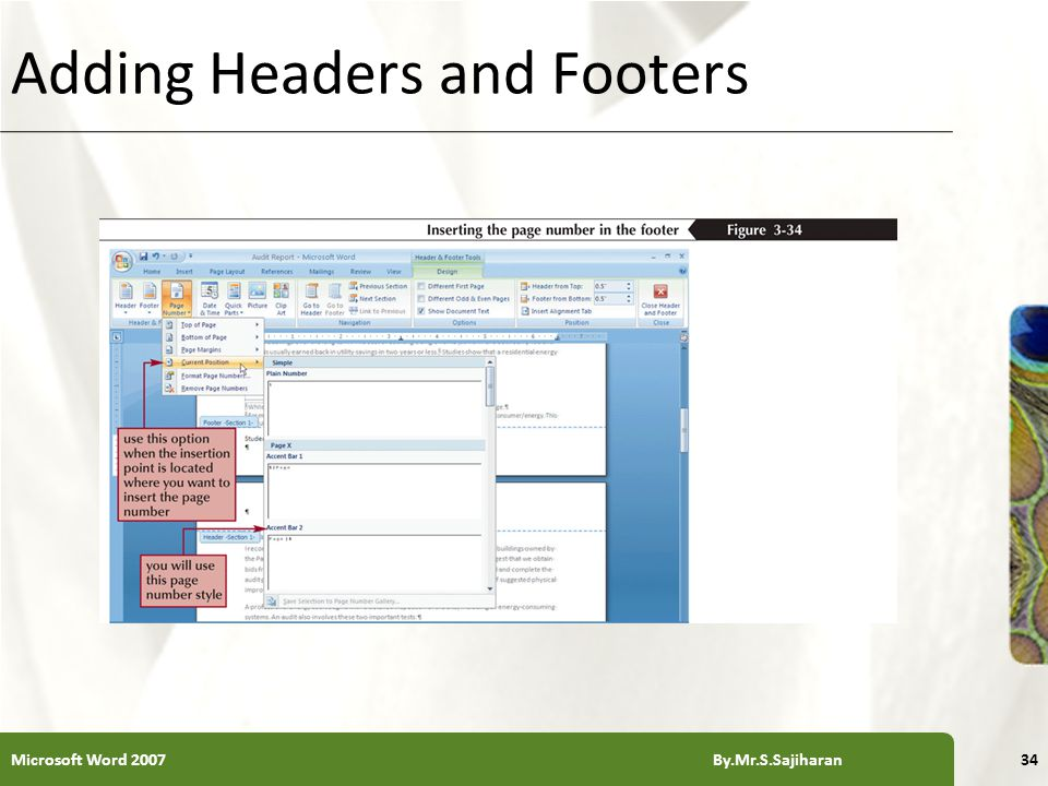XP Adding Headers and Footers Microsoft Word 2007 By.Mr.S.Sajiharan34