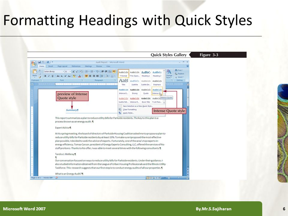 XP Formatting a Document in Sections Microsoft Word 2007 By.Mr.S.Sajiharan27