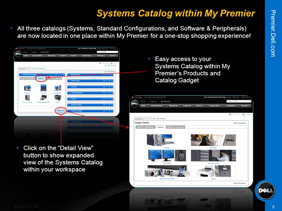 5  Easy access to your Systems Catalog within My Premier's Products and Catalog Gadget Premier.Dell.com ad: 910007528 Systems Catalog within My Premi