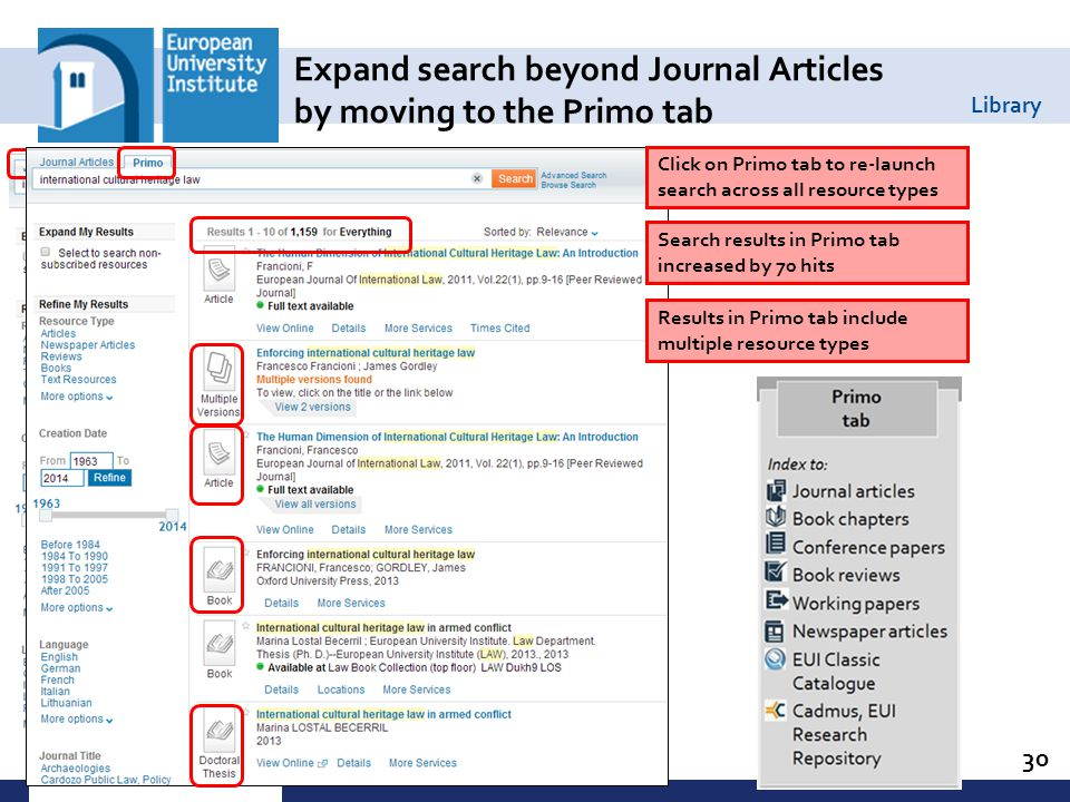 Library 30 Expand search beyond Journal Articles by moving to the Primo tab Click on Primo tab to re-launch search across all resource types Search results in Primo tab increased by 70 hits Results in Primo tab include multiple resource types