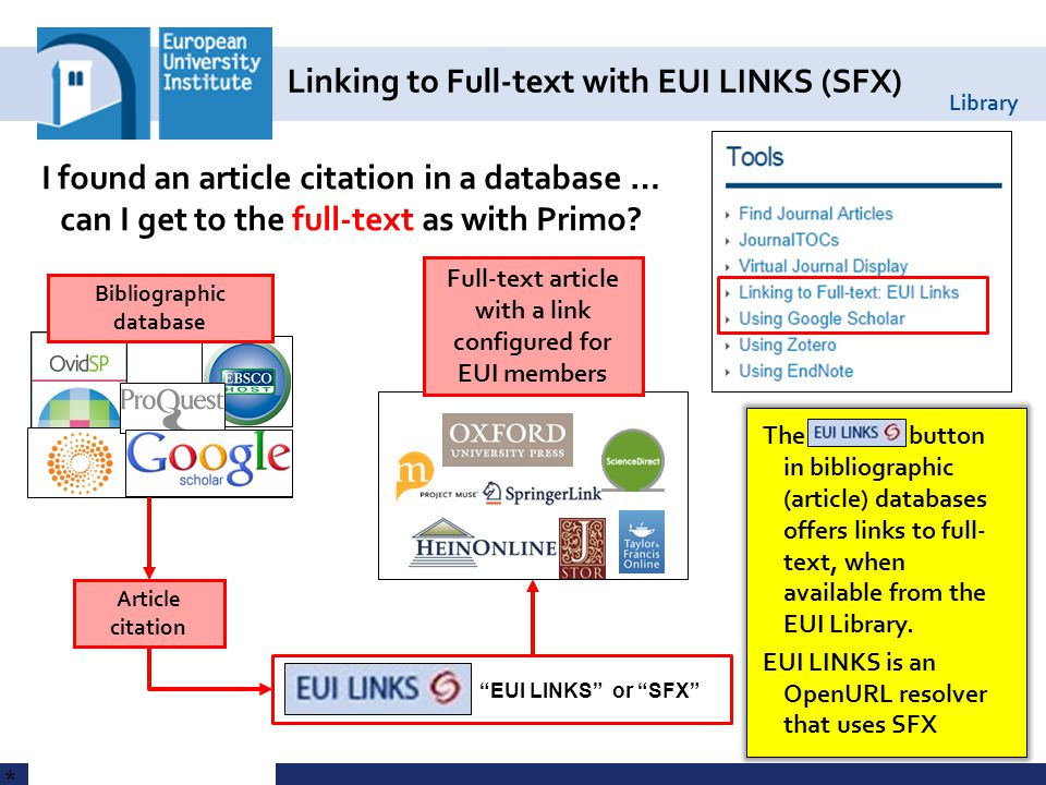 Library Linking to Full-text with EUI LINKS (SFX) 31 * The button in bibliographic (article) databases offers links to full- text, when available from the EUI Library.