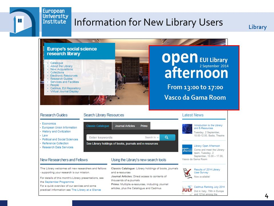 Library 4 Information for New Library Users