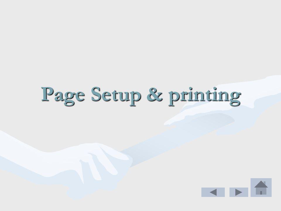 Page Setup & printing