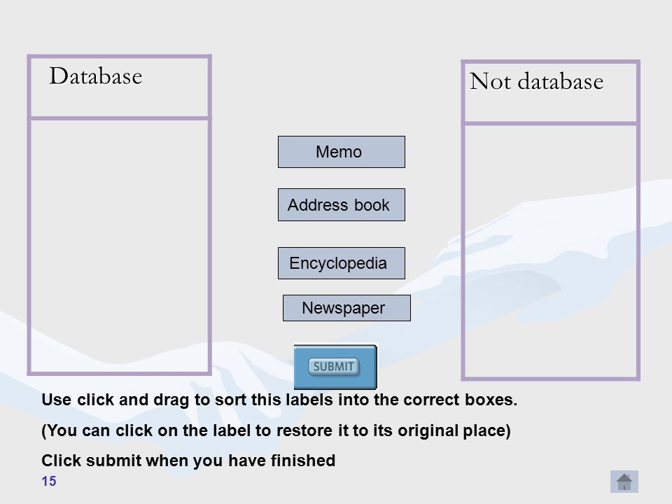 15 Database Database Not database Memo Address book Encyclopedia Newspaper Use click and drag to sort this labels into the correct boxes.