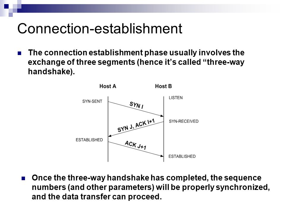 """Connection-establishment The connection establishment phase usually involves the exchange of three segments (hence it's called """"three-way handshake)."""