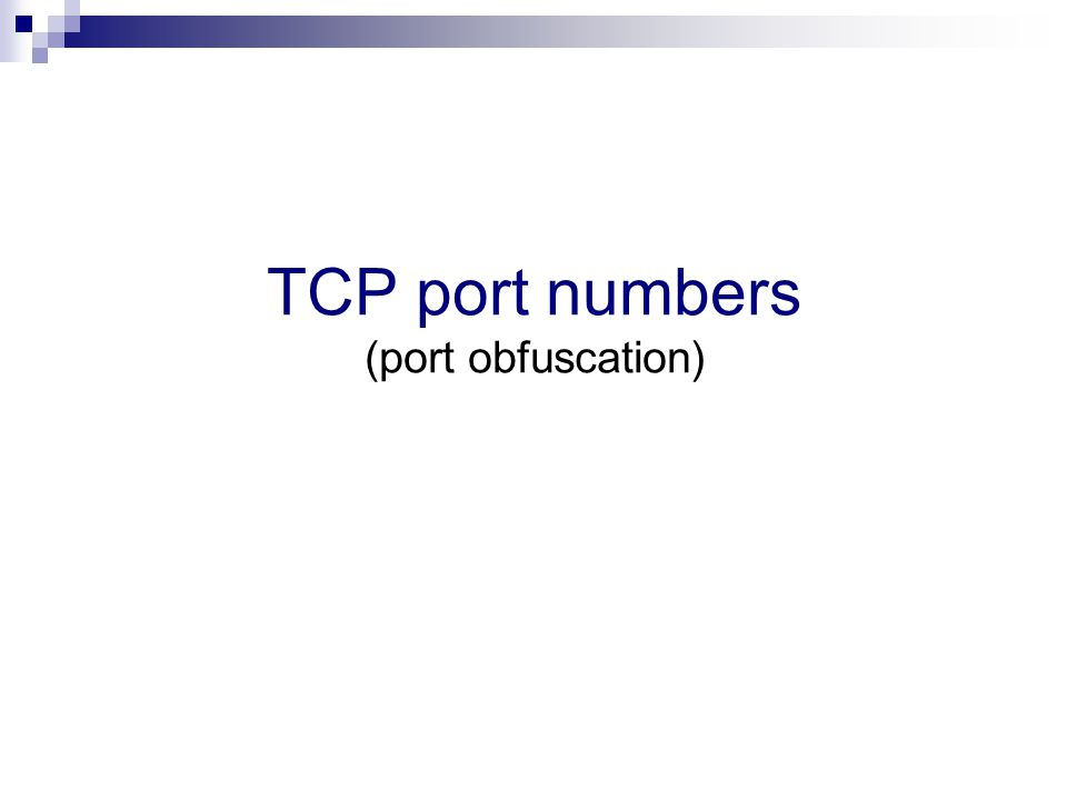 TCP port numbers (port obfuscation)