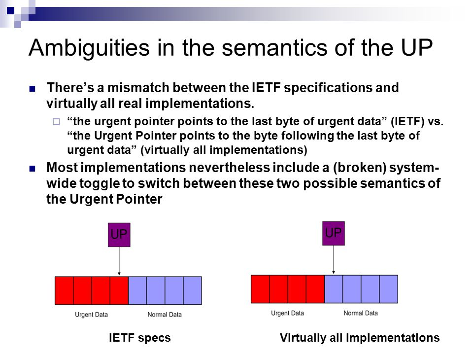 """Ambiguities in the semantics of the UP There's a mismatch between the IETF specifications and virtually all real implementations.  """"the urgent pointe"""