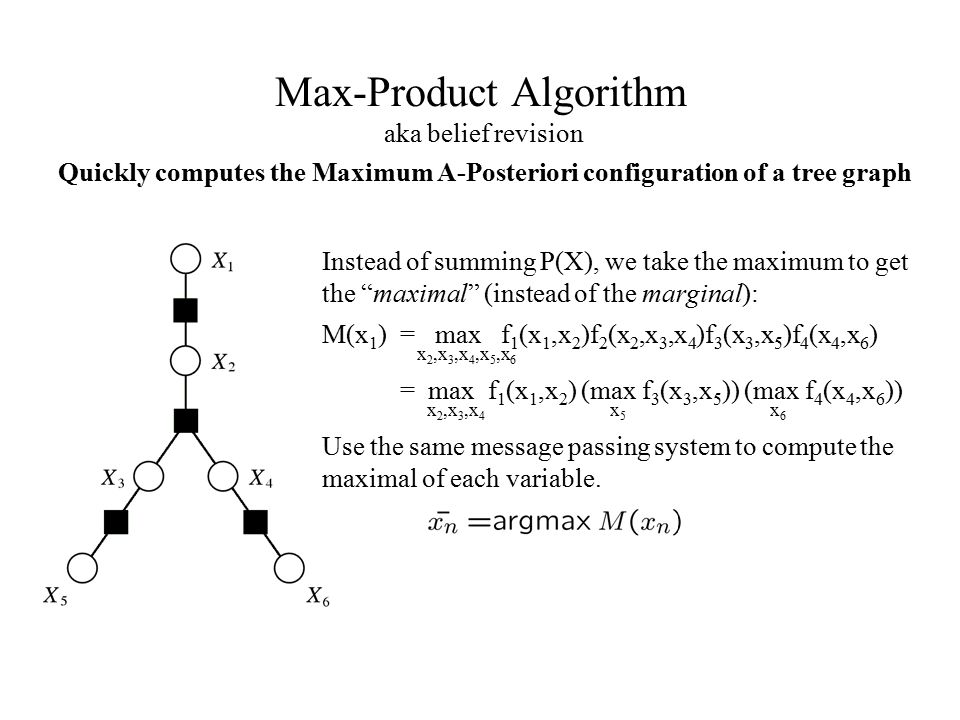 """Max-Product Algorithm aka belief revision Instead of summing P(X), we take the maximum to get the """"maximal"""" (instead of the marginal): M(x 1 ) = max f"""
