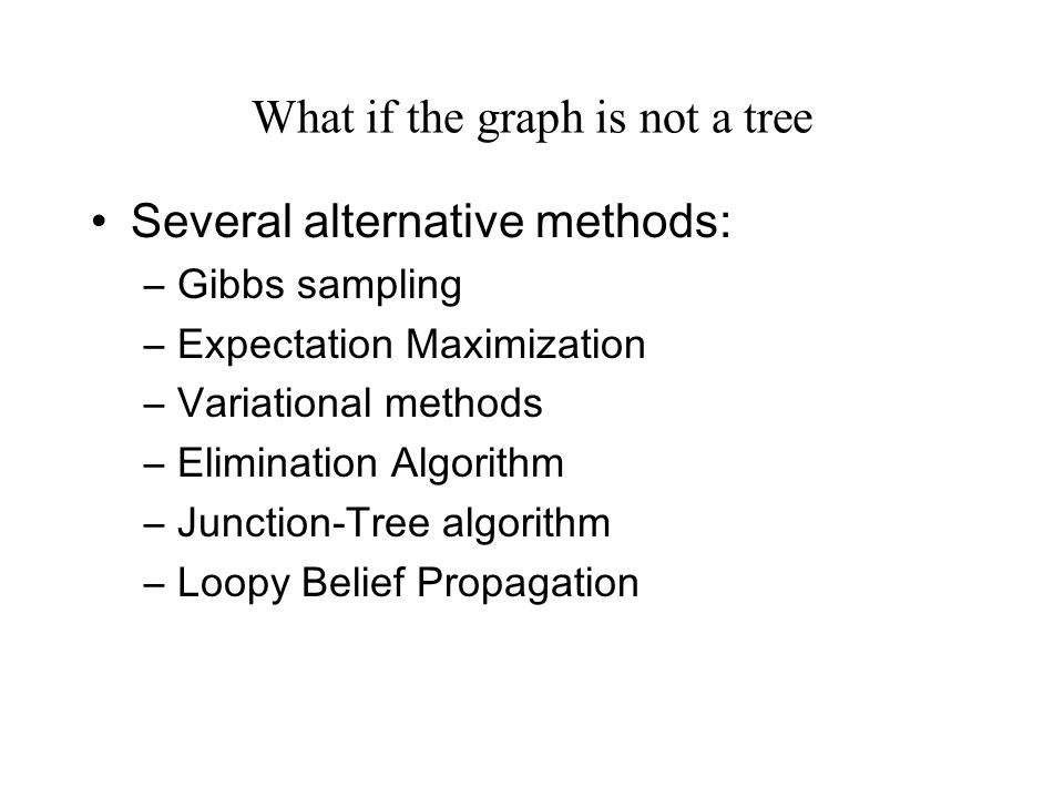 What if the graph is not a tree Several alternative methods: –Gibbs sampling –Expectation Maximization –Variational methods –Elimination Algorithm –Junction-Tree algorithm –Loopy Belief Propagation