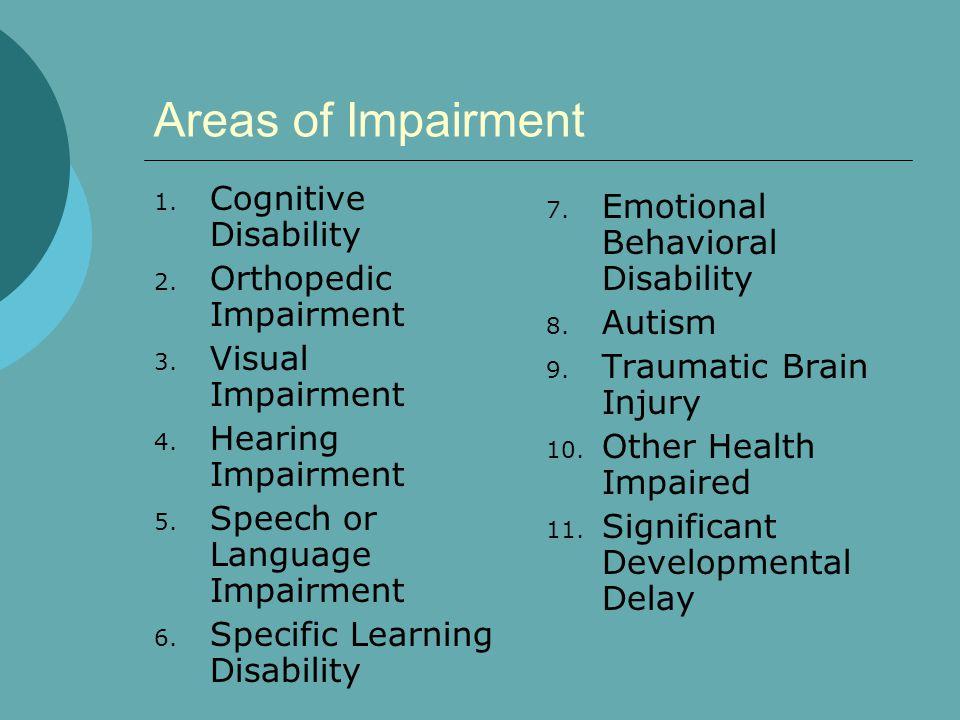 Areas of Impairment 1. Cognitive Disability 2. Orthopedic Impairment 3. Visual Impairment 4. Hearing Impairment 5. Speech or Language Impairment 6. Sp