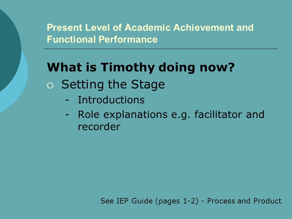 Present Level of Academic Achievement and Functional Performance What is Timothy doing now?  Setting the Stage -Introductions -Role explanations e.g.