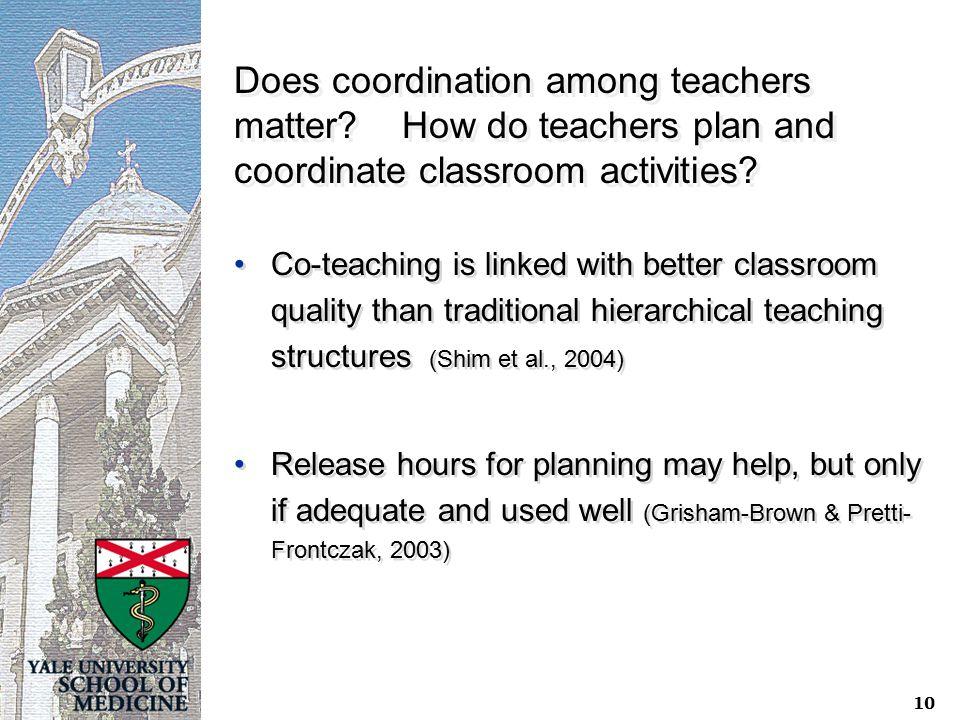 10 Does coordination among teachers matter.