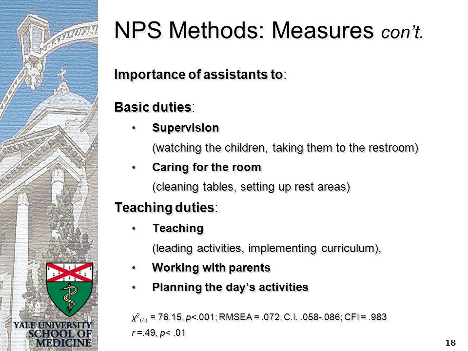 NPS Methods: Measures con't. Importance of assistants to: Basic duties: Supervision (watching the children, taking them to the restroom) Caring for th
