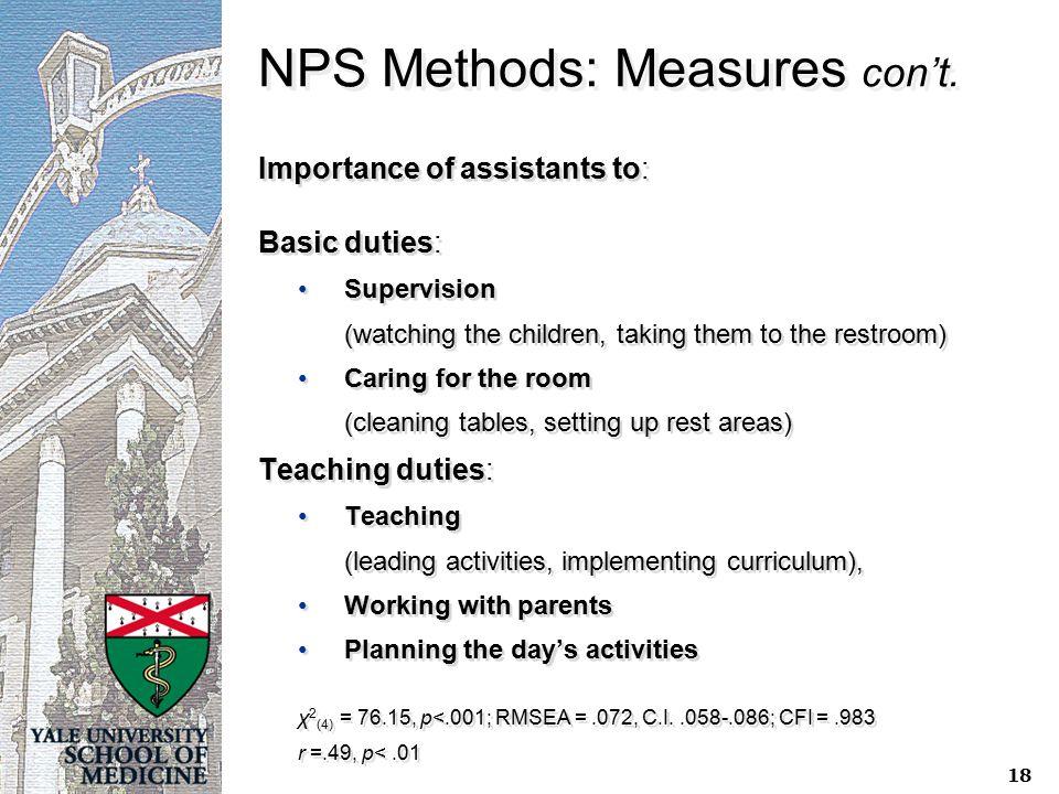 NPS Methods: Measures con't.