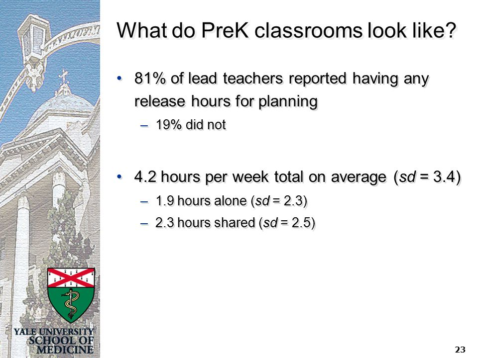 What do PreK classrooms look like? 81% of lead teachers reported having any release hours for planning –19% did not 4.2 hours per week total on averag