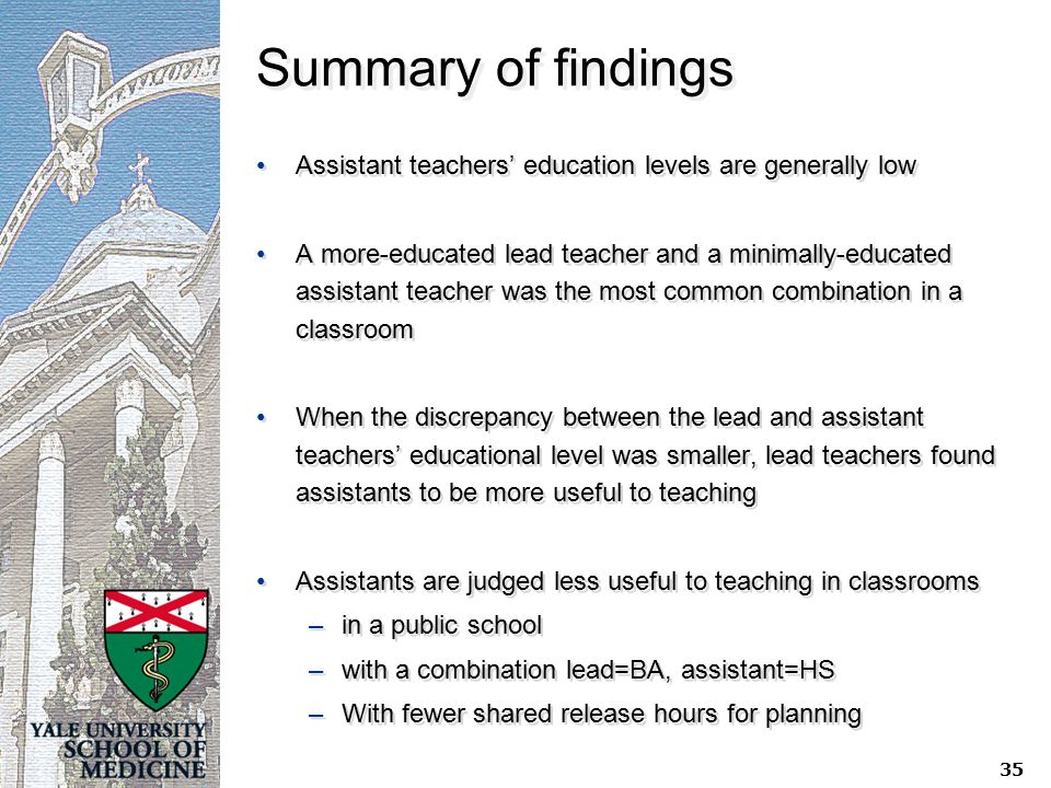 Summary of findings Assistant teachers' education levels are generally low A more-educated lead teacher and a minimally-educated assistant teacher was the most common combination in a classroom When the discrepancy between the lead and assistant teachers' educational level was smaller, lead teachers found assistants to be more useful to teaching Assistants are judged less useful to teaching in classrooms –in a public school –with a combination lead=BA, assistant=HS –With fewer shared release hours for planning Assistant teachers' education levels are generally low A more-educated lead teacher and a minimally-educated assistant teacher was the most common combination in a classroom When the discrepancy between the lead and assistant teachers' educational level was smaller, lead teachers found assistants to be more useful to teaching Assistants are judged less useful to teaching in classrooms –in a public school –with a combination lead=BA, assistant=HS –With fewer shared release hours for planning 35