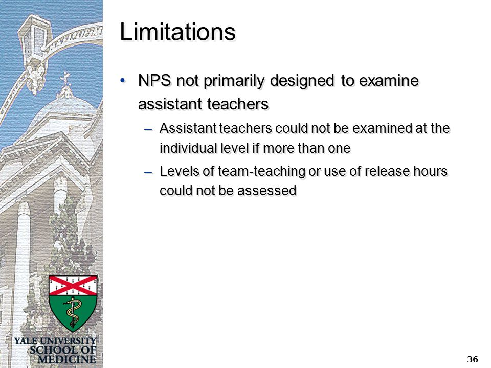 Limitations NPS not primarily designed to examine assistant teachers –Assistant teachers could not be examined at the individual level if more than one –Levels of team-teaching or use of release hours could not be assessed NPS not primarily designed to examine assistant teachers –Assistant teachers could not be examined at the individual level if more than one –Levels of team-teaching or use of release hours could not be assessed 36