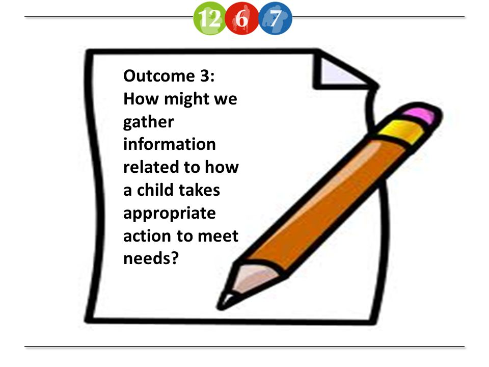 Outcome 3: How might we gather information related to how a child takes appropriate action to meet needs?