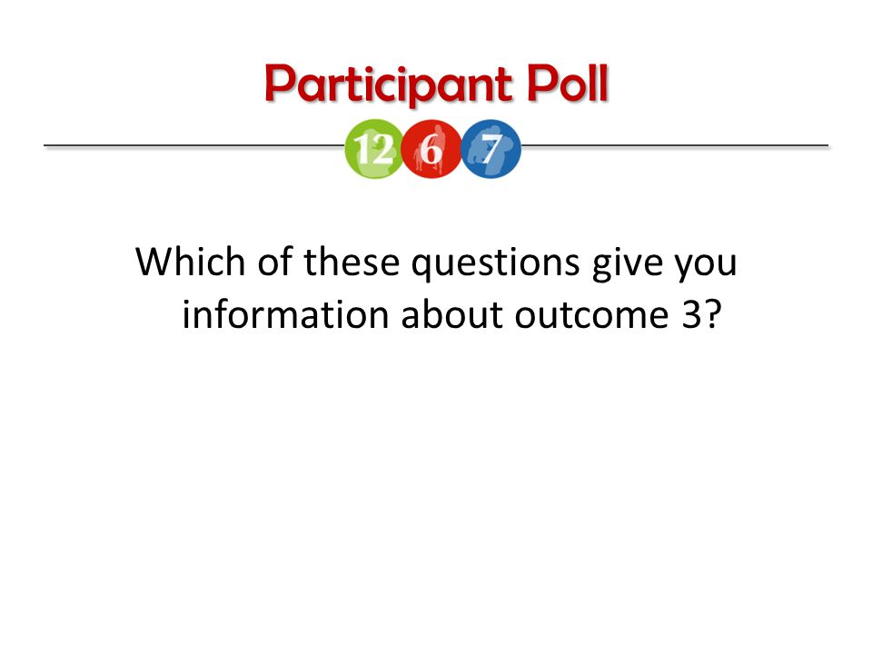 Participant Poll Which of these questions give you information about outcome 3