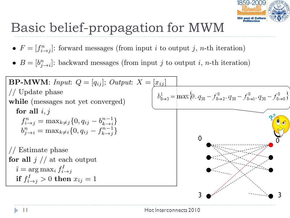 Basic belief-propagation for MWM 0 0 11Hot Interconnects 2010 33