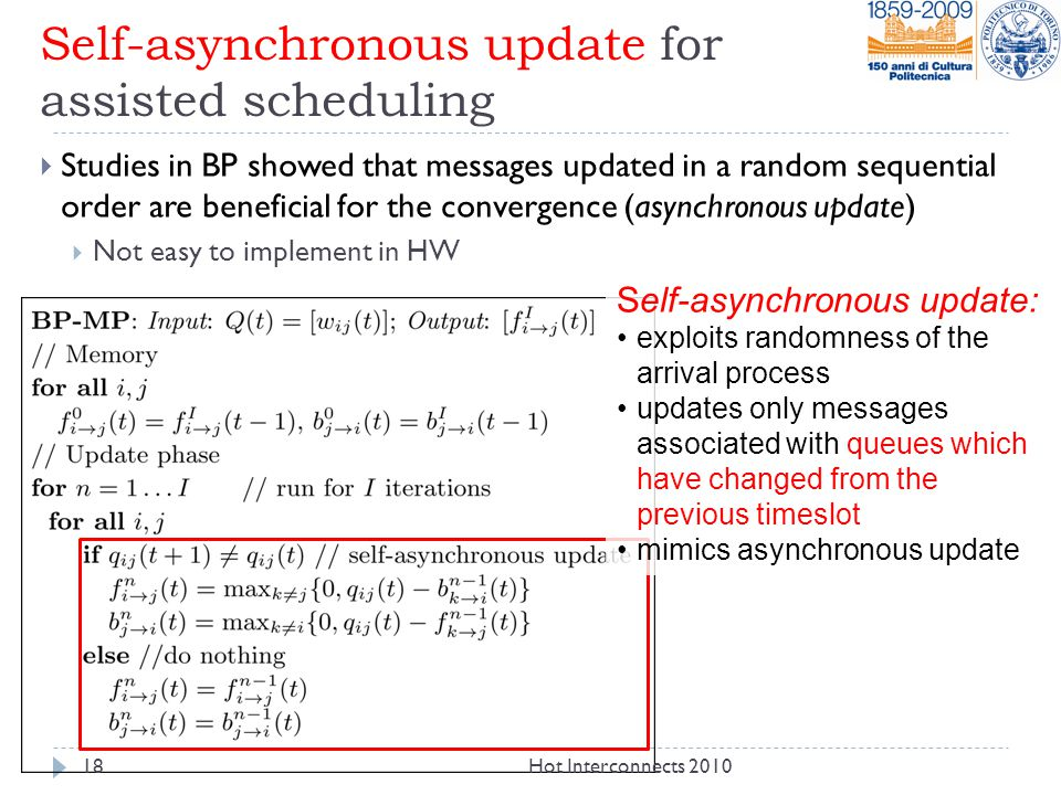 Self-asynchronous update for assisted scheduling  Studies in BP showed that messages updated in a random sequential order are beneficial for the convergence (asynchronous update)  Not easy to implement in HW Self-asynchronous update: exploits randomness of the arrival process updates only messages associated with queues which have changed from the previous timeslot mimics asynchronous update 18Hot Interconnects 2010