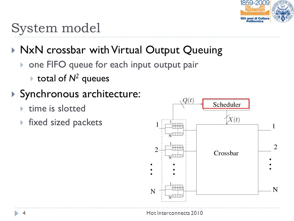 Scheduling algorithm  At each timeslot, the scheduler selects a set of head-of-line packets compatible with the crossbar constraint:  At the most one packet can be transferred to/from each output/input port  equivalent to choose a matching in a bipartite graph  Inputs: lengths of the VOQ  Outputs: matching described through binary variable: x ij =1 iff input i transfer packet to output j q ij Scheduler (MWM, iSLIP, iLQF, …) x 00 =1 x 33 =0 5Hot Interconnects 2010 33 33 00 0 0