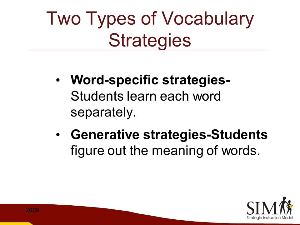 Part III: Practicing the Strategy To teach students the meaning of frequently used morphemes To give the students multiple opportunities to practice parts of the strategy To give the students multiple opportunities to practice the whole strategy 2009