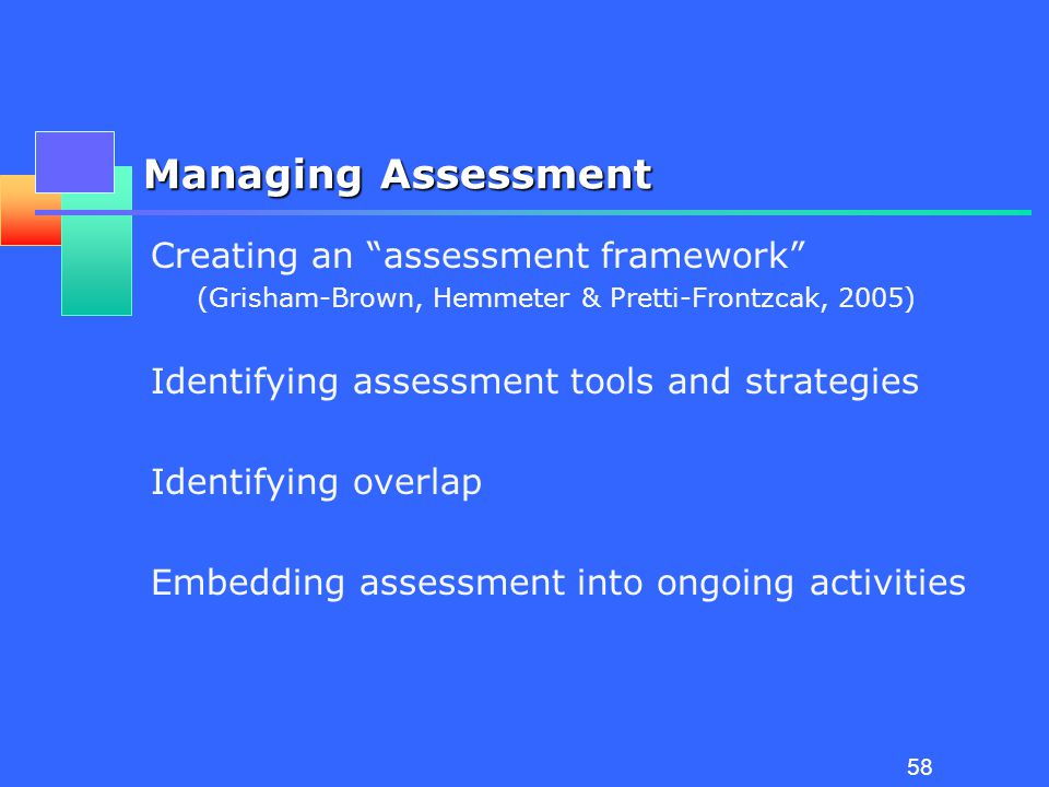 57 Assessment Tasks Screening Eligibility for special education Planning the IEP/IFSP Progress monitoring monitoring progress toward EC standards monitoring progress toward IEP/IFSP outcomes monitoring effectiveness of intervention strategies Accountability for IDEA