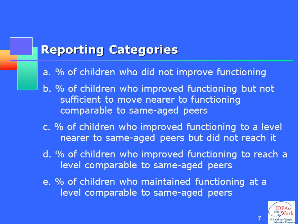 6 OSEP Reporting Requirements: Part C and Preschool Child Outcomes Percent of children who demonstrate improved: Positive social emotional skills (including positive social relationships) Acquisition and use of knowledge and skills (including early language/ communication [and early literacy]) Use of appropriate behaviors to meet their needs