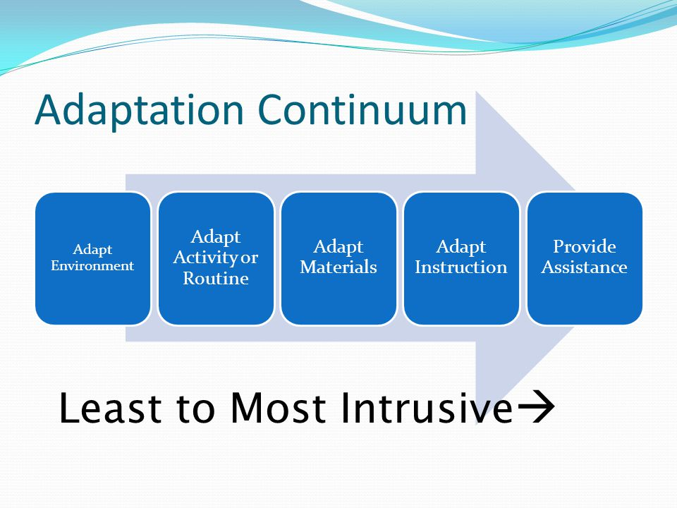 Adaptation Continuum Adapt Environment Adapt Activity or Routine Adapt Materials Adapt Instruction Provide Assistance Least to Most Intrusive 