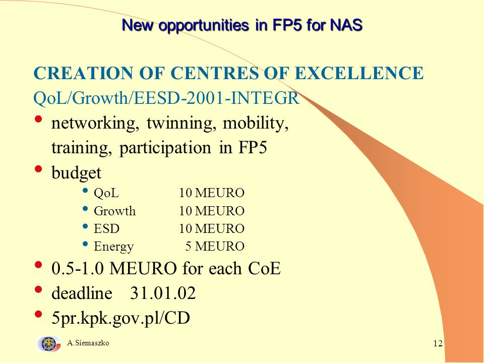 A.Siemaszko 12 New opportunities in FP5 for NAS CREATION OF CENTRES OF EXCELLENCE QoL/Growth/EESD-2001-INTEGR networking, twinning, mobility, training, participation in FP5 budget QoL10 MEURO Growth10 MEURO ESD10 MEURO Energy 5 MEURO 0.5-1.0 MEURO for each CoE deadline 31.01.02 5pr.kpk.gov.pl/CD
