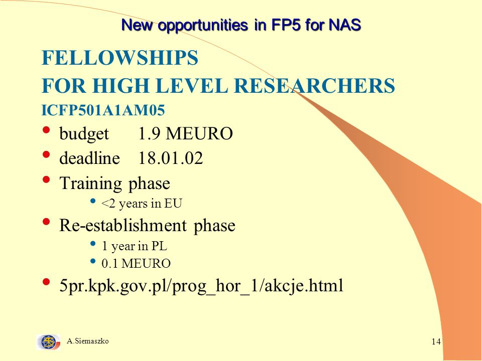 A.Siemaszko 14 New opportunities in FP5 for NAS FELLOWSHIPS FOR HIGH LEVEL RESEARCHERS ICFP501A1AM05 budget1.9 MEURO deadline18.01.02 Training phase <2 years in EU Re-establishment phase 1 year in PL 0.1 MEURO 5pr.kpk.gov.pl/prog_hor_1/akcje.html