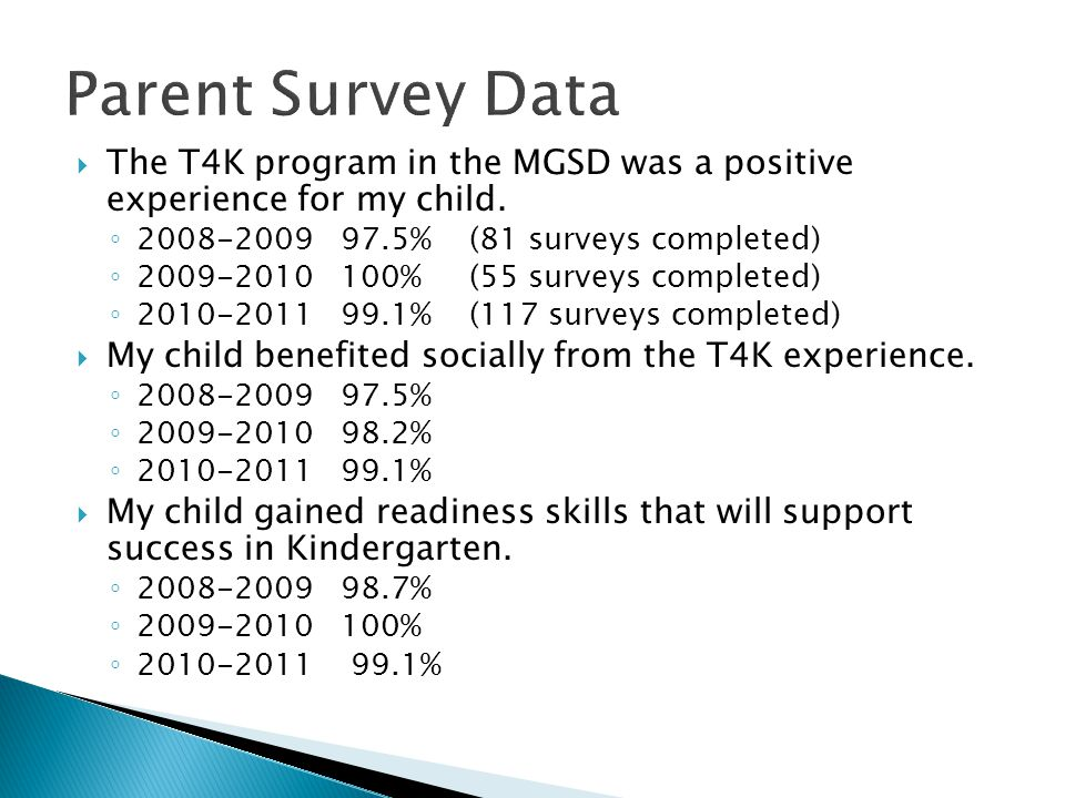  The T4K program in the MGSD was a positive experience for my child. ◦ 2008-2009 97.5% (81 surveys completed) ◦ 2009-2010 100% (55 surveys completed)