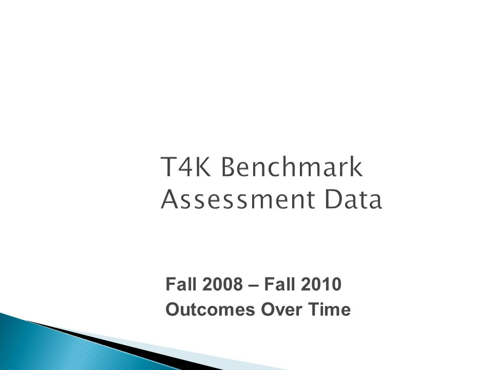T4K Benchmark Assessment Data Fall 2008 – Fall 2010 Outcomes Over Time