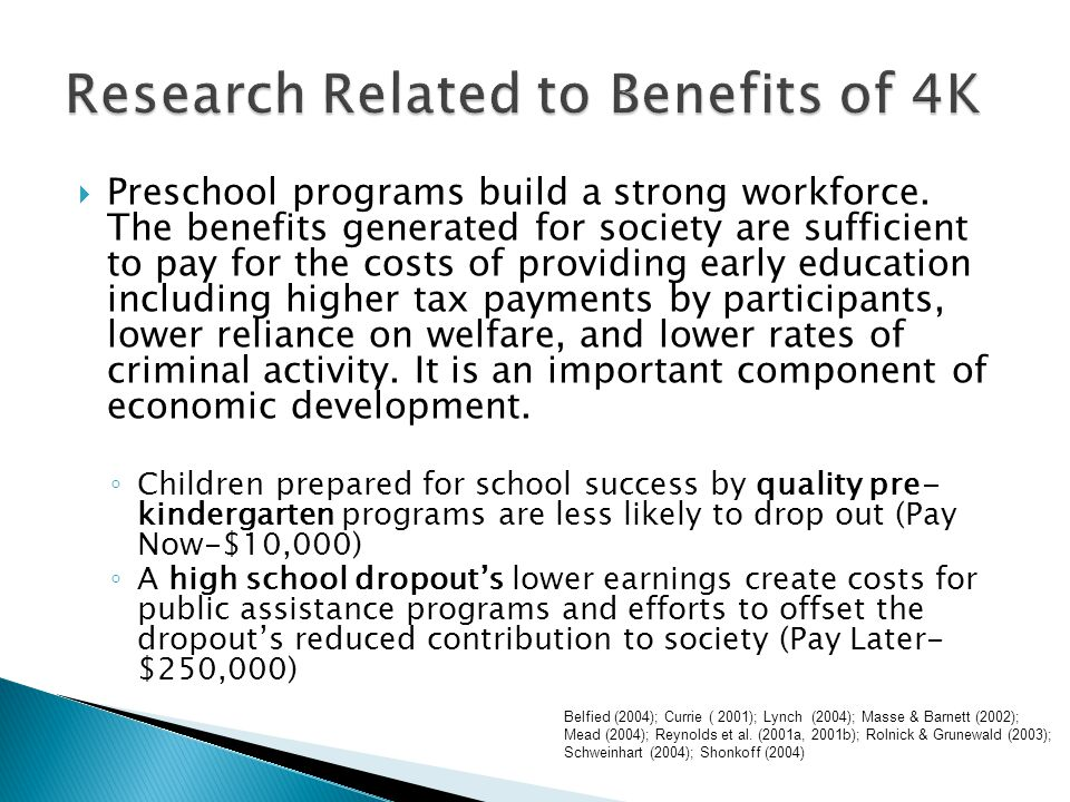  Delivery of an evidence-based, rich, coherent curriculum  Focus on language development and emergent literacy  Adherence to the Wisconsin Model Early Learning Standards  Universal Screening (Benchmark Assessment)  Response to Intervention (RtI) and Early Intervening Services as indicated by best practice and federal educational policy