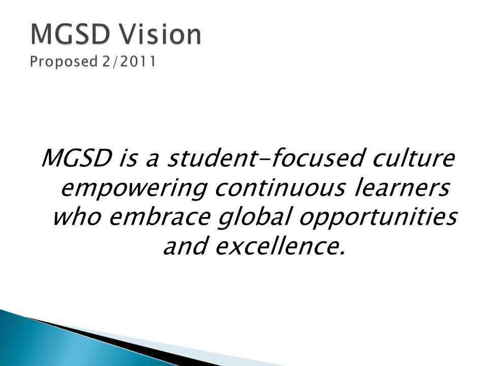 MGSD is a student-focused culture empowering continuous learners who embrace global opportunities and excellence.