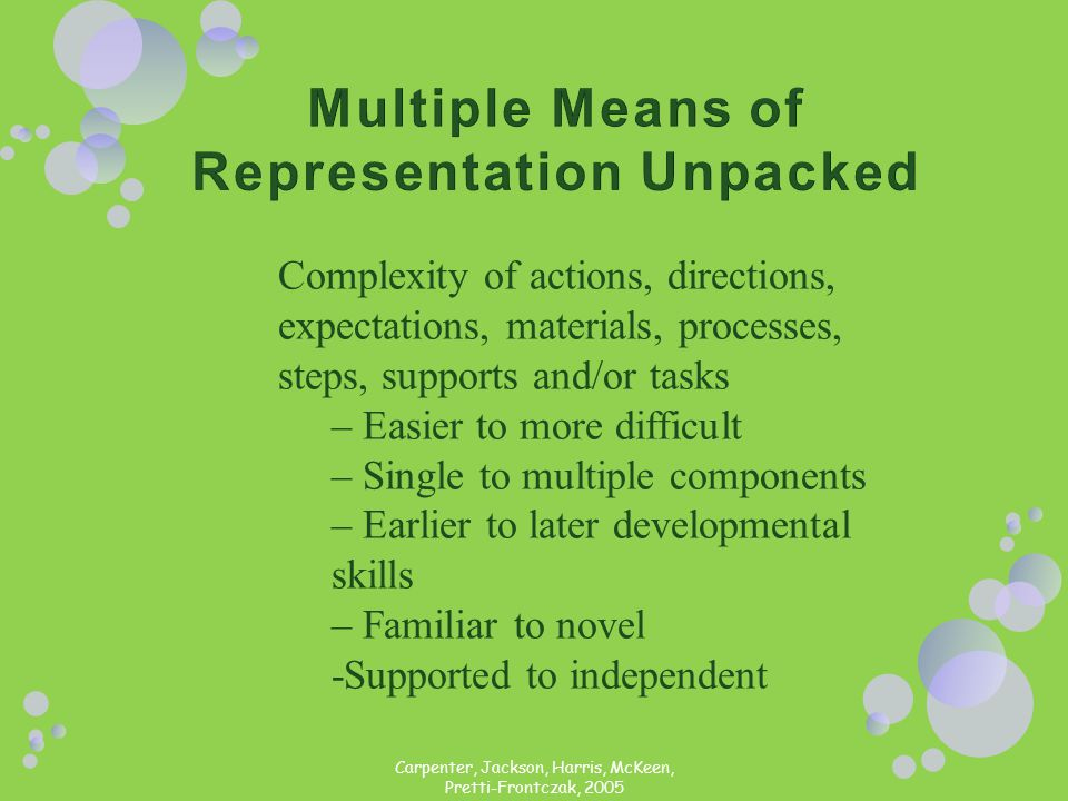 Complexity of actions, directions, expectations, materials, processes, steps, supports and/or tasks – Easier to more difficult – Single to multiple co