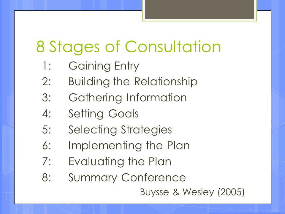 8 Stages of Consultation 1: Gaining Entry 2: Building the Relationship 3: Gathering Information 4: Setting Goals 5: Selecting Strategies 6: Implementi