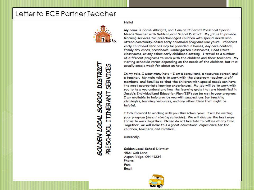 Letter to ECE Partner Teacher