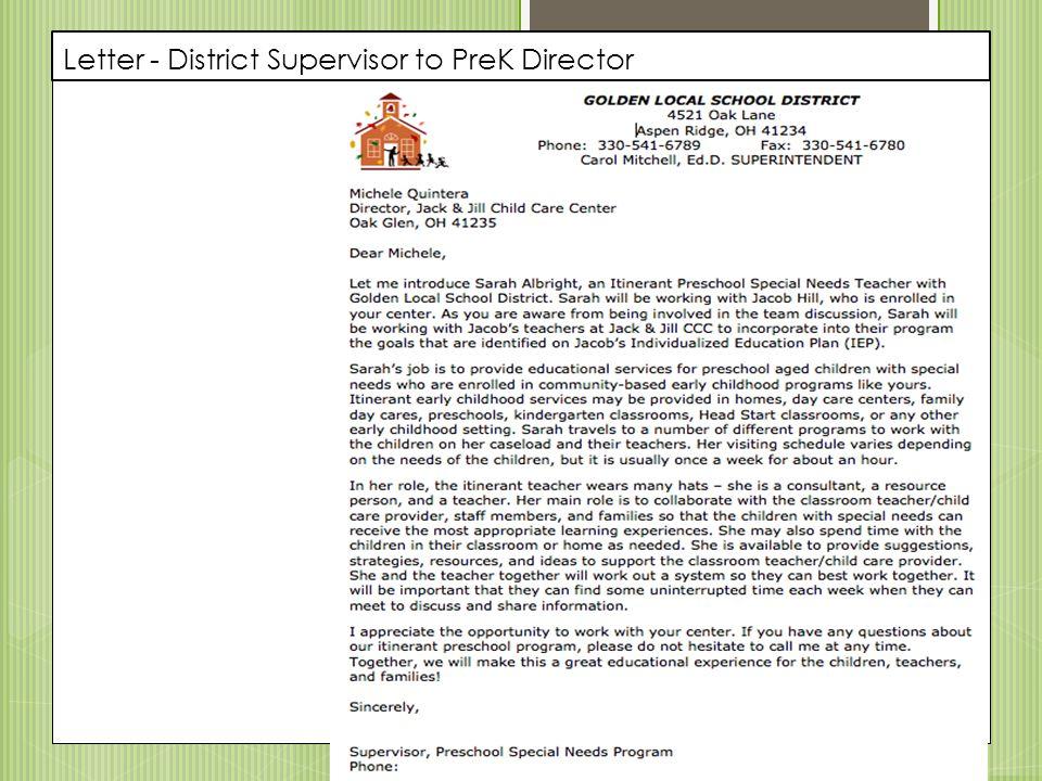 Letter - District Supervisor to PreK Director