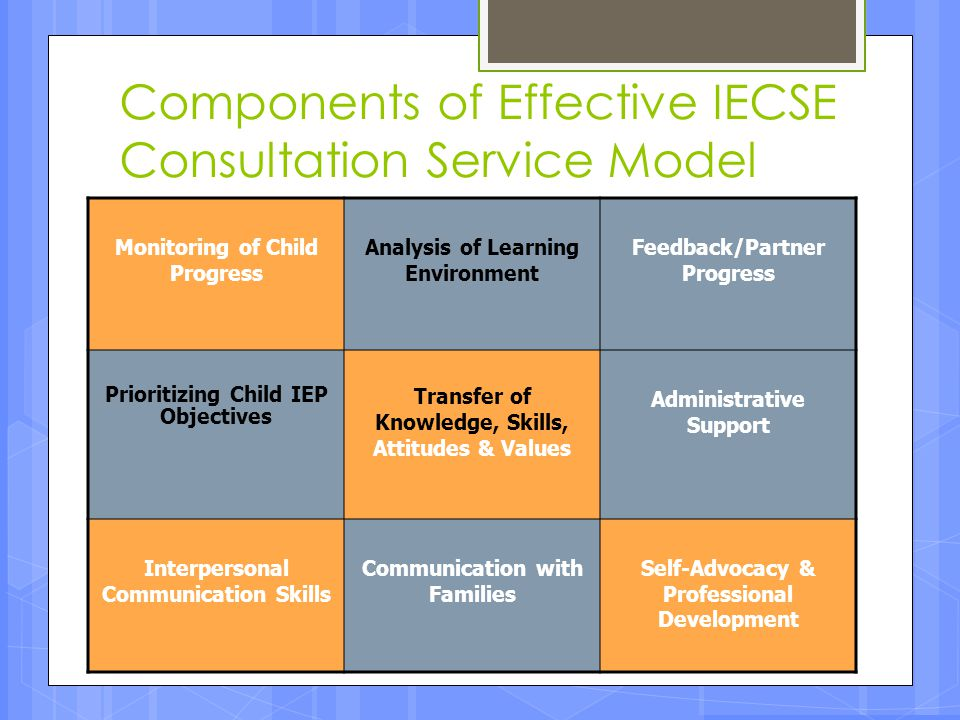 Components of Effective IECSE Consultation Service Model Monitoring of Child Progress Analysis of Learning Environment Feedback/Partner Progress Prior