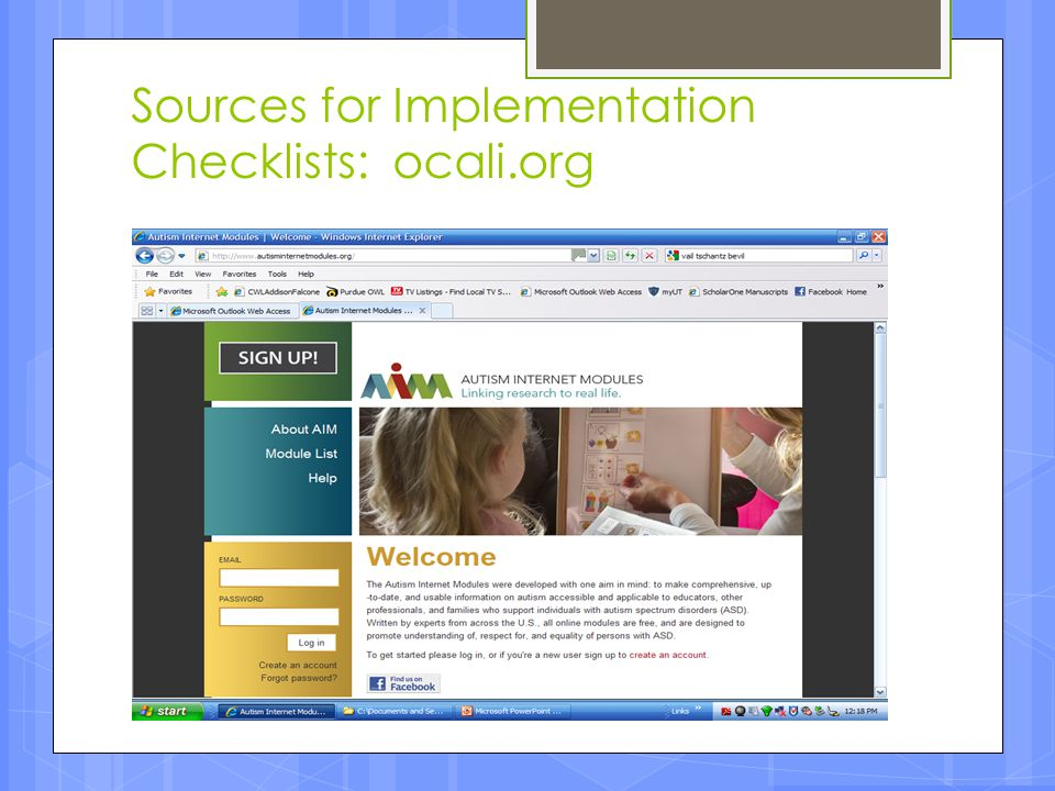 Sources for Implementation Checklists: ocali.org